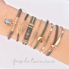 Ensemble bracelets kaki et rose gold !