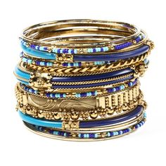 Gold tone plated 18-piece Bangle Set with Resin and Multi-colored Resin beads.   Amrita Singh