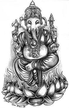 Ganesha On Lotus Tattoo Lotus flower and ganesha