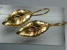 Leaf earrings gold 24 k over silver