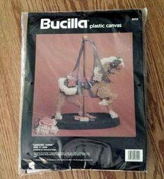 "Vintage Bucilla Plastic Canvas Kit CAROUSEL HORSE #6059 9"" #Bucilla"