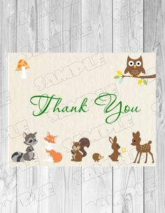 Woodland forest animals thank you card baby shower Printable INSTANT DOWNLOAD  UPrint  by greenmelonstudios woodland baby shower by greenmelonstudios on Etsy