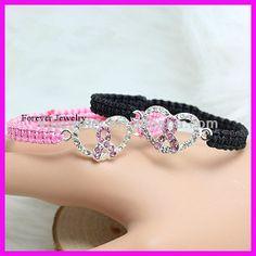 Crystal Rhinestone Heart Ribbon Bracelet, pink and black macrame cord breast cancer awareness beaded bracelets