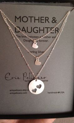 Love these silver mother-daughter layered necklaces!