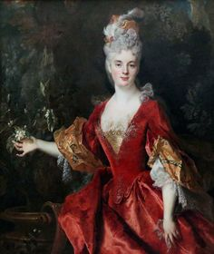 Jeanne Elisabeth Beauharnais is luxuriously dressed in this de Largillière portrait from around possibly She wears a corset or under-bodice. Mode Rococo, Ludwig Xiv, European Costumes, Rococo Fashion, 18th Century Fashion, 17th Century, Elisabeth, Jeanne, Classical Art