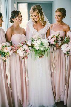 Wedding Dresses I Loving this lace wedding gown and pink bridesmaids dresses Wedding Attire, Wedding Bridesmaids, Wedding Gowns, Bridesmaid Color, Bridal Gowns, Lace Wedding, Trendy Wedding, Perfect Wedding, Dream Wedding