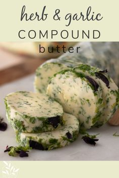 Soft butter married with fresh herbs, garlic, and lemon make this a perfect way to dress steamed or roasted veggies, grilled meats and fish. Herb Recipes, Great Recipes, Cooking Recipes, Favorite Recipes, Kombucha, Flavored Butter, Butter Recipe, Pasta, Pain Au Levain