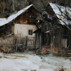 Winter Backyard. Oil on linen, 13 x 13in. Tibor Nagy