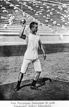 Shot-put at the first modern Olympics, 1896, Athens.