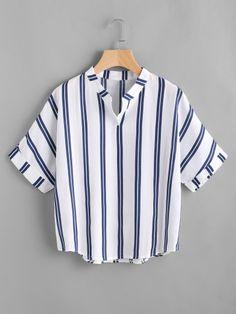 f9170193f4 Band Collar Stripe Print Blouse Blusa Diferentes