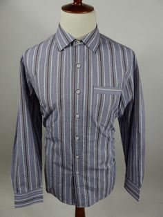Tommy Bahama Long Sleeve Button Front Stripe Purple Gray Shirt Men Large L #TommyBahama #ButtonFront