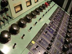 "The famous ""green board,"" a vintage Universal Audio 610 tube recording console - @UAudio - used to record Duke Ellington, Elvis Presley, Johnny Cash (Live at Folsom Prison), Cream, Jimi Hendrix, Neil Young, Otis Redding, The Beach Boys, and so many more."
