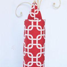 Plastic Bag Holder Dispenser Red Lattice by ablemabel on Etsy, $12.50