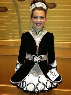 Black & Silver Irish Dance Solo Dress by Shauna Shiels, Doire Dress Designs