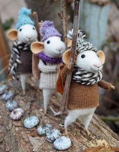 Three felted mice