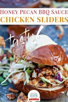 #spon Honey Pecan BBQ Chicken Sliders feature a slider bun piled high with shredded BBQ chicken, coleslaw, and chopped pecans. Let me tell you about this delicious Pecan Honey BBQ Sauce. Unlike any other recipe for BBQ sauce that I've made before, this recipe is thickened with Fisher Nuts Pecans, rather than using cornstarch or flour. This gives the sauce a hint of a nutty taste, while still tasting like a Honey BBQ sauce. | Good Life Eats @goodlifeeats #gamedayfood #chickensliders #goodlifeeats Fast Healthy Meals, Good Healthy Recipes, Whole Food Recipes, Healthy Appetizers, Appetizer Recipes, Shredded Bbq Chicken, Great Chicken Recipes, Chicken Sliders, Honey Bbq