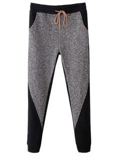 Splicing Color Drawstring Elastic Waist Leisure Long Pants