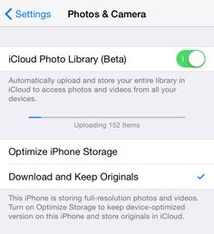 Use iCloud Photo Library to keep your photos backed up for all devices.