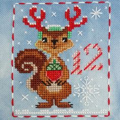 Animal Advent Calendar Day 12 Sophie Squirrel.  Counted Cross Stitch. 2016