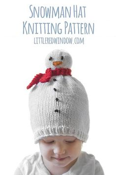 Free Knitting Pattern for Snowman Hat - Adorable baby hat with . Free Knitting Pattern for Snowman Hat - The adorable baby hat has a snowman head that sits like a sweet little pom pom on it and has an orange carrot . Baby Hat Patterns, Baby Knitting Patterns, Scarf Patterns, Knitting For Kids, Free Knitting, Snowman Hat, Baby Scarf, Christmas Knitting Patterns, Christmas Hat