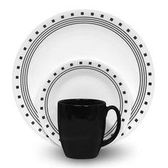 Corelle Livingware City Block 16-Piece Dinnerware Set - White and Black - $27.  http://www.walmart.com/ip/Corelle-Livingware-City-Block-16-Piece-Dinnerware-Set/5622709#Product+Reviews