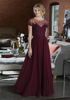 2c1e70bdb1165 Elegant Chiffon Bridesmaid Dress Featuring a Beaded and Embroidered Bodice
