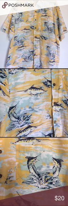 Joe marlin Hawaiian sport fishing shirt size XXL 100% cotton. Sport fishing print. Blue and yellow. Single pocket. Notched hem. Extra buttons. Coconut buttons  men's size XXL joe marlin Shirts Casual Button Down Shirts