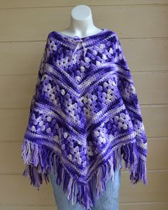 Get the Free People Look For WAY LESS Vintage 1970s Poncho Hippie Boho Purple Lilac by founditinatlanta, $36.00