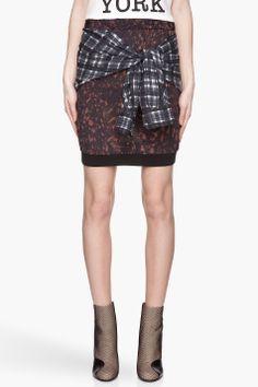 3.1 PHILLIP LIM Brown and blue soft grunge shirt-tie silk skirt