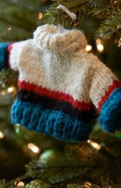 Best Guy Sweater Ornament Free Knitting Pattern from Red Heart Yarns