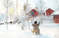 Vintage Christmas. Artist Carl Larsson ( 1853 - 1919)