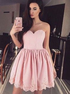 Homecoming Dress For Cheap, Sleeveless Prom Dresses, Appliques Homecoming Dress, Homecoming Dress Pink, Prom Dresses Short Short Homecoming Dresses Strapless Homecoming Dresses, Cute Prom Dresses, Dresses Short, Sweet 16 Dresses, Short Mini Dress, Dresses For Teens, Bridesmaid Dress, Dress Prom, Prom Gowns