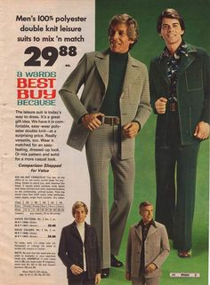 100% Polyester, double-knit suits. Need I say more?