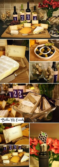 how to display the goods at a home wine party. numbering the bottles and placing the accompanying cheese in front lets guests know without a doubt which chunk goes with which wine