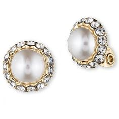 Anne Klein Pearl and Glitz Clip Earrings ($26) ❤ liked on Polyvore featuring jewelry, earrings, gold, anne klein, clear crystal earrings, polish jewelry, anne klein jewelry and clip on pearl earrings