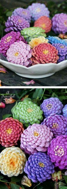 pine cones painted like zinnia flowers to create a centerpiece that requires no water.