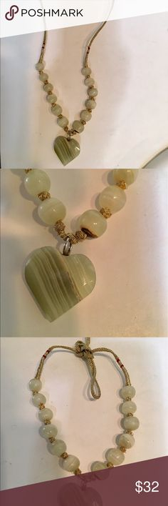 Real natural Jade choker/necklace from India Antique Natural jade handmade, gold thread necklace, you can wear it long or I tied it in the back to wear as a choker Jewelry Necklaces