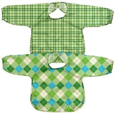 green sprouts by i play. Best Long Sleeve Bib - Polyester - Green Argyle/Plaid - 2 ct