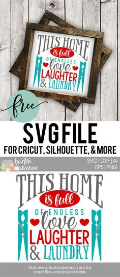 Free SVG cut files for Silhouette and Cricut | Laundry Room SVG Files