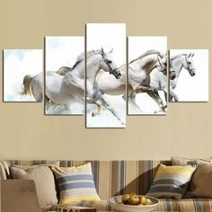 Horse Art 5 Panel Large CANVAS PAINTING Art Three Galloping White Horses Art Pictures For Modern Home Office Living Room Decor,High Quality painting and decorating pictures,China painting pictures on walls Suppliers, Cheap pictures of bathroom colors from Your Unique Decoration on Aliexpress.com