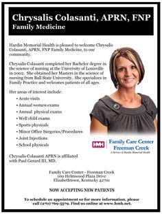 Hardin Memorial Health is pleased to welcome Chrysalis Colasanti, APRN, FNP Family Medicine