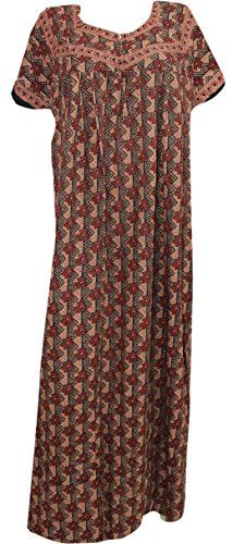 Odishabazaar Womens Nightgown Cotton Printed Brown Maxi Kaftan XXL *** Click for Special Deals #SexyNightgown