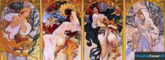 The Four Seasons Personified Alphonse Mucha Timeline Cover 850x315 Facebook Covers - Timeline Cover HD