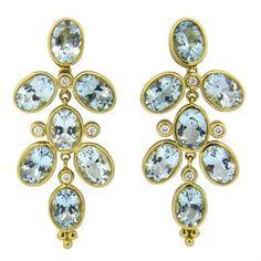 Temple St. Clair Oval Aquamarine Diamond Gold Drop Earrings