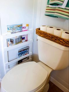 This DIY wall-mounted bathroom magazine rack was built by Jessica Bruno of Four Generations One Roof. She built it in only a couple of hours to keep her husband's magazines off the bathroom floor.
