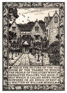 "William Morris's ""Kelmscott Manor,"" frontispiece from News from Nowhere, 1893."