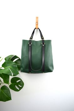 2-in 1 Tote Bag Green Italian Leather Tote Leather Large Tote Leather  Classic Tote 57e7cf6816b1b