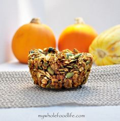 Pumpkin Pie Baked Oatmeal.  It's like a bowl of oats in muffin form.  Tastes like pumpkin pie and a great meal of on the go.  Vegan and gluten free.