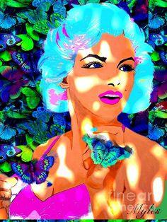Marilyn Monroe and Butterflies:SaundraMylesart