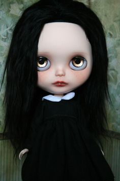 Ooak spooky little gothic Wednesday Blythe by KatinkaDolly on Etsy, $690.00